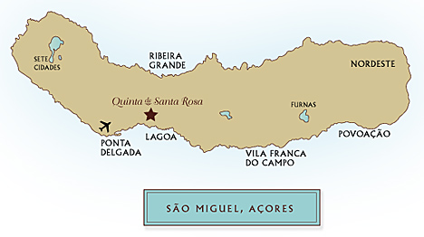 Location of Santa Rosa on a map of São Miguel